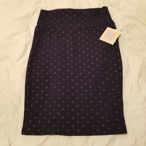 LULAROE NAVY BLUE POKA DOT METALIC SKIRT M CASSIE